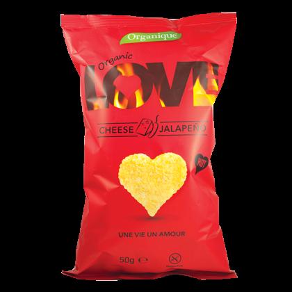 """Kukorica snack, sajtos-jalapeňo-s """"Love"""" BIO 50 g"""